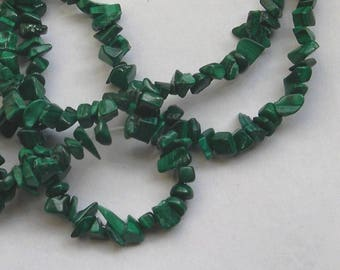 MALACHITE gemstone CHIPS raw green stone beads