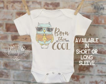 Born This Cool Bird Onesie®, Unique Baby Onesie, Sunglasses Onesie, Cute Baby Bodysuit, Cute Onesie, Boho Baby Onesie, Girl Onesie - 177B