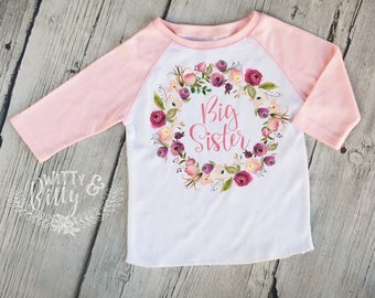 Big Sister Pink Wreath Kids Raglan Shirt, Funny Kids Shirt, Cute Kids Raglan Shirt, Girls Boho Shirt, Girls Raglan Tee - R421B