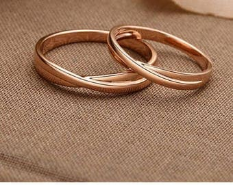 18k rose gold White Gold wedding band stackable Ring cross simple Wedding Band couple gold Ring  name engraving