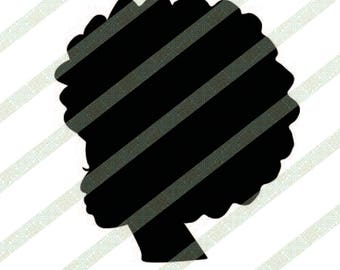 Afro Silhouette Ethnic SVG EPS PNG Black Woman With Kinky Hair Cricut Cutting File