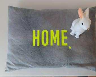 Vintage cotton Cushion cover, dyed. Khaki grey and neon yellow text HOME