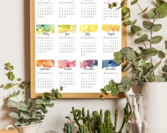 2018 Printable Calendar // Watercolor Painting // Instant Download