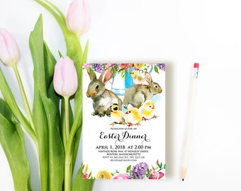 Easter Dinner Party Invitations Printable Easter Brunch Invitations Digital Editable Watercolor Flowers Bunny Rabbit Chick Spring Invitatons