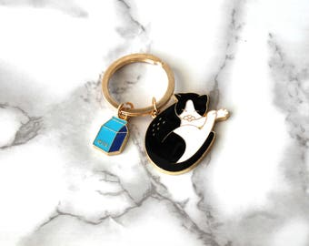 Cute Cat And Milk Enamel Keychain, 2PCS Gold Plated Keychain, Cool Kitty Gifts, Back To School, Birthday Gifts For Her Under 25, Cat Lover