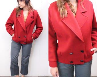 Vintage Wool Red Coat