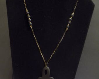 Black Ankh with gold chain necklace