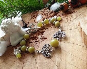 Bracelet en jade serpentine et en métal argenté de AngelS SignS