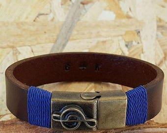 Gift for boyfriend Treble Clef Bracelet Men Bracelet Leather Mens Bracelet Man Leather Personalized Bracelet Custom Bracelet