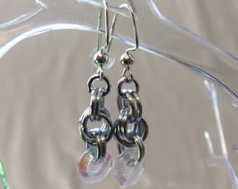 Double Spiral Chain Mail Earrings with Crystal Czech Pressed Glass Ring