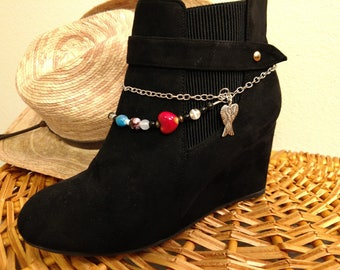 Boot Bracelet, Boot Jewelry, Boot Chain, Black Boot Bracelet, Black Boot Jewelry, Boot Bling, Cowboy Boot Jewelry, Boot Accessories