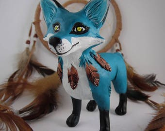 Kajika, handmade ooak blue fox spirit sculpture - collector's item