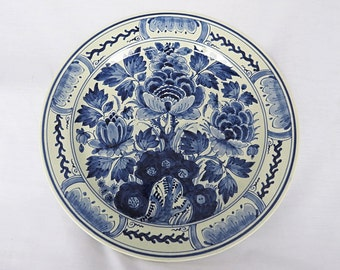Vintage Delft blue plate from The Porceleyne Fles from 1653-1953, with beautiful decor