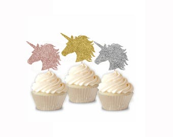 Unicorn Cupcake Toppers - 12ct