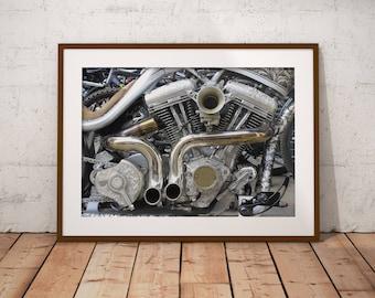 Indian Larry Legacy Motorbike, Motorcycle Engine, Decorated Motorbike Engine, London Motorbike Engine, Digital Photograph