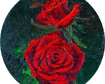 Midnight Roses Oil on Canvas