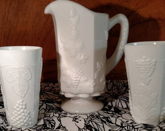Westmoreland Quart Paneled Grape Milk Glass Pitcher with Drinking Glasses (2)