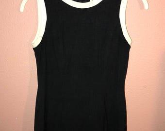 Vintage Ann Taylor Black Dress w White Trim