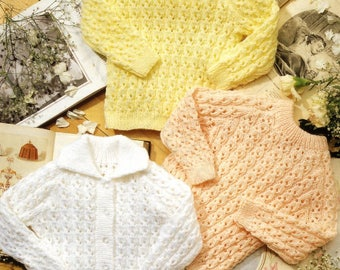 Baby Sweaters and Cardigan, Knitting Pattern, Instant Download.