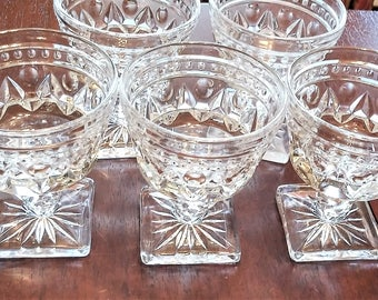 Colony Park Lane Clear-Vintage Indiana Glass Co-Sherbet Glasses-Pattern Glass-American Pressed Glass-EAPG