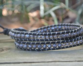 Double gray wrap bracelet
