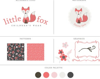 Pre-made fox logo design kit with different branding options