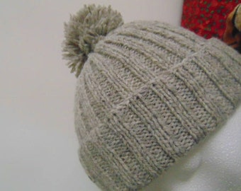 Hand knitted ribbed hat, using pure Poll-Dorset wool.