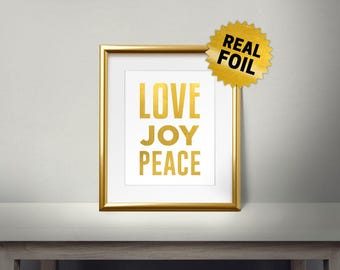 Love Joy Peace, Real gold foil paper, Bible Verses, Religion, Christianity words, Quotes Layout, Print Religion Unique Gift, Big Text