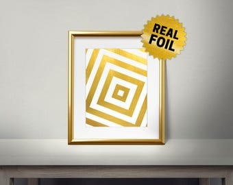 Gold Rectangle Pattern, Real Gold Foil Print, New Design, Modern Home Decor, Pattern Gold Decor, Home Decoration, Luxary Frame, Rectangle