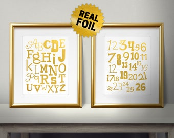 Package of 2, Real Gold Foil Print, Kids Alphabet AND Numbers Wall Art, Letters, Children Wall Art, Kids Room Decor, School, First Grade
