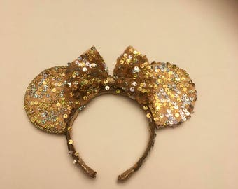 Beauty And The Beast Sequine Mouse Ears, Gold Sparkle Mickey Ears, Gold Princess Mouse Ears, Fancy Mouse Ears, Inspired By Disney Princesses