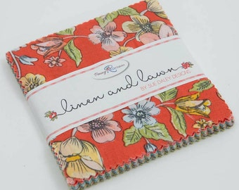 Precut Fabric, Precut Fabric Squares, Precut Quilt Squares, 100% Cotton Fabric, Linen and Lawn, 5 Inch Stacker, Penny Rose Fabrics, Fabric