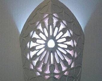 Applique Indian openwork Sun wheel, exotic oriental handcrafted lamp