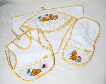 Baby bath towel, Set family chicken baby Towel, Embroidered Baby towel, Hooded baby towel, Baby bib and burp, Baby bib, baby burp.