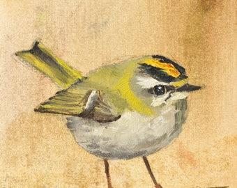 Bird Art Print Firecrest Oil Painting study (Giclée Print)