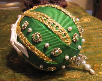 Vintage Handmade Christmas Ornament with Ribbons, Pins, Beads, Bric-a-Brac, and Metal Accents circa 1970s