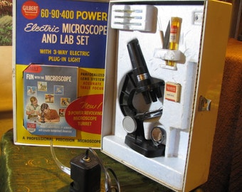 Vintage Gilbert Microscope and Lab Set in Original Box - Used but in GREAT Collector Condition circa 1960