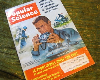 Vintage Popular Science Monthly Magazine January 1966 James Bond Thunderball with Sean Connery + Front Wheel and Winter Driving + UFOs!