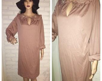 Vintage 70's Mauve Prairie Dress