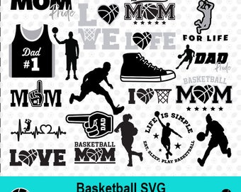 Basketball SVG, Basketball Silhouette, Basketball Clipart, Basketball Mom, Sport SVG, Sport Scrapbook, Vector Files, dxf Files, MSD-016