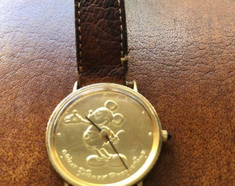 Vintage Gold Men's Mickey Mouse 'Coin' Watch - RARE