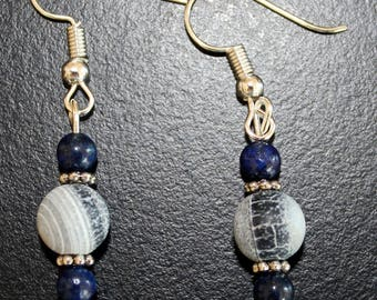 Lapis Lazuli and Agate Earrings