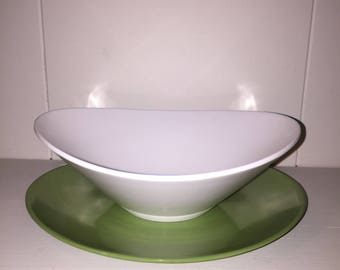 Retro Avocado Green and White Melamine melmac LifetimeWare Serving Set of Large Bowl, Divided Bowl, Smaller Bowl with Saucer