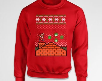 Ugly Xmas Sweater Gamer Gifts Santa Sweatshirt Christmas Present Ideas Holiday Present Christmas Pullover Video Game Crewneck Hoodie TEP-388