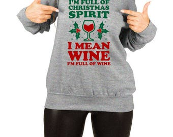 Funny Christmas Sweater Wine Lover Gifts For Women Holiday Outfit Xmas Tops Wine Gifts For Her Christmas Outfit Slouchy Sweatshirt TEP-412