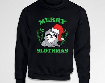 Funny Xmas Gifts Holiday Outfits Ugly Christmas Sweater Xmas Clothes Holiday Sweatshirt Christmas Hoodie Sloth Sweater Merry Xmas TEP-588