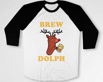 Funny Christmas Gifts For Beer Lovers T Shirt Rudolph TShirt Holiday Outfits Reindeer Shirt Beer Drinker 3/4 Sleeve Baseball Tee TEP-576
