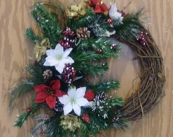 SOLD....Little cardinal winter wreath