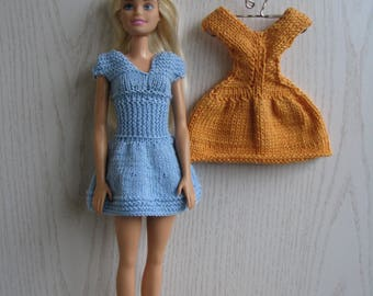 Knitted handmade 2 dresses for Barbie, blue and yellow dresses, fashion doll dress,  Barbie Clothes