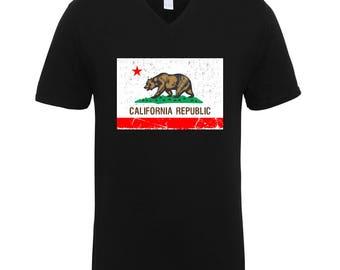 California Republic Bear Flag Clothing Adult Unisex Men Size V Neck Tee Shirts for Men and Women